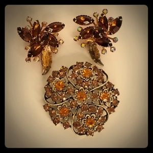 Vintage Autumn Clip Earrings & Pin Bundle